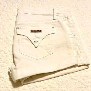 Hudson White Denim Shorts